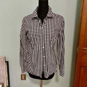 Ann Taylor black and white checked blouse.